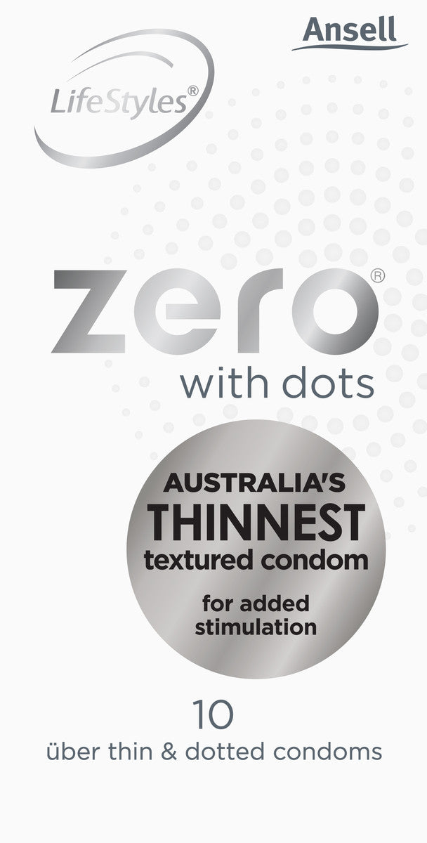Ansell Lifestyles ZERO with Dots Uber Thin & Dotted Condoms 10 Pack