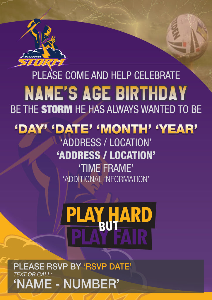 Melbourne Storm Party Invite – Mixed Design | Personlised Custom ...