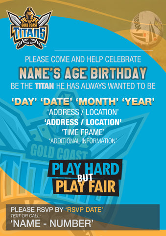 Sports Invitations Mixed Design Personlised Custom Designs - Birthday invitation gold coast