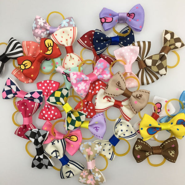 Dog Bows on Elastic Band - Set of 20 Pieces