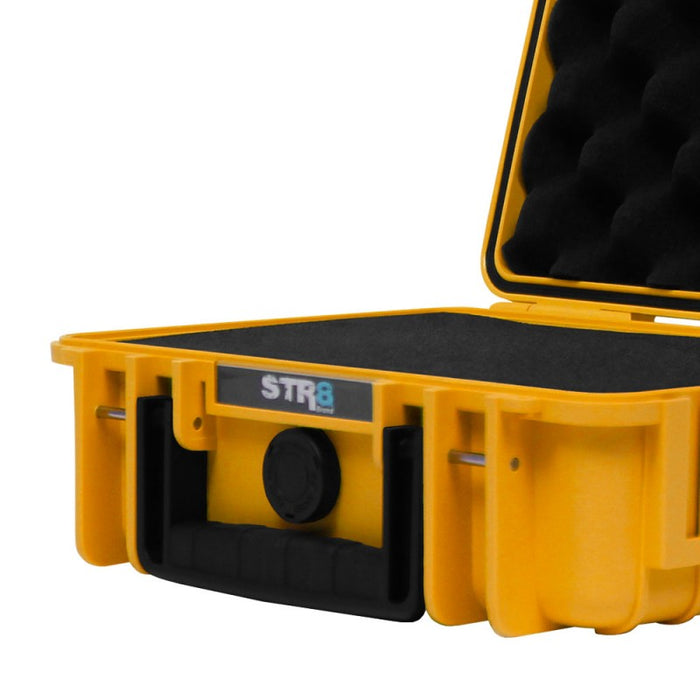 "Yellow STR8 Case 10"" Hard Shell 2-Layer Travel Case with Pre-Cut Form"