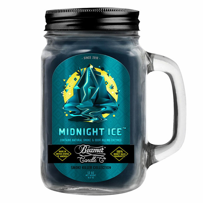 Beamer Candle Midnight Ice with a 12 Ounce Mason Jar Canada