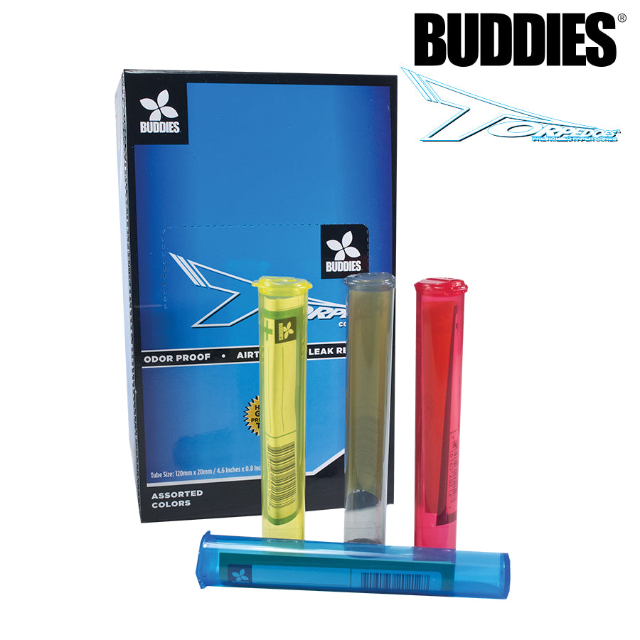Odor Proof Hinged Lid 5 ASSORTED BUDDY Torpedoes Cone Storage Tubes Air Tight