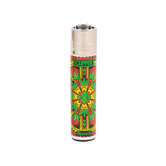 Clipper Lighters Cannabis Leaf Light Rays Design