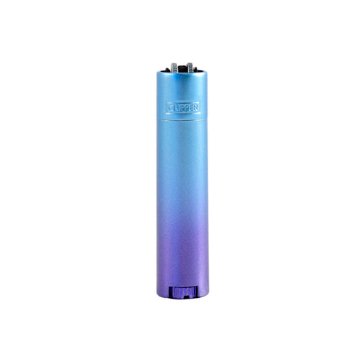 Gradient Blue Metal Clipper Lighter with Case