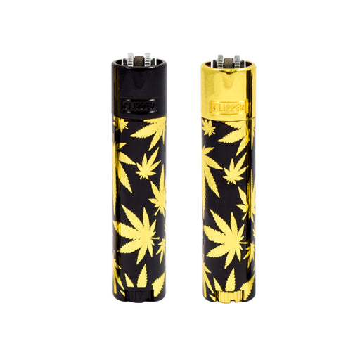 Clipper lighter with Gold Cannabis Leaves Canada