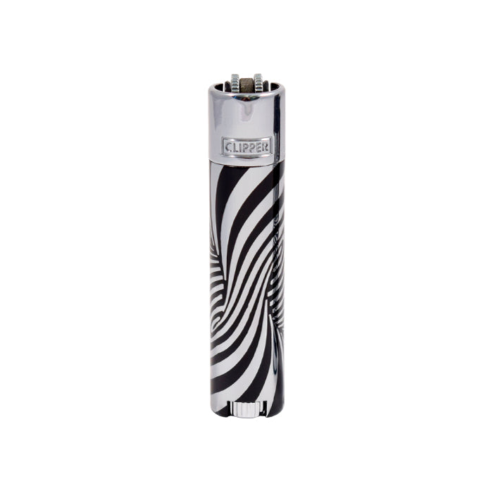 Psychedelic Silver and Black Swirl Metal Clipper Lighters Canada