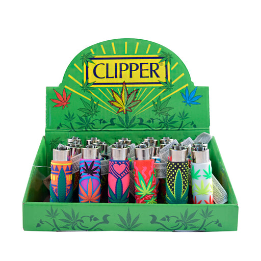 Silicone Wrapped Clipper Lighters Cannabis Leaves