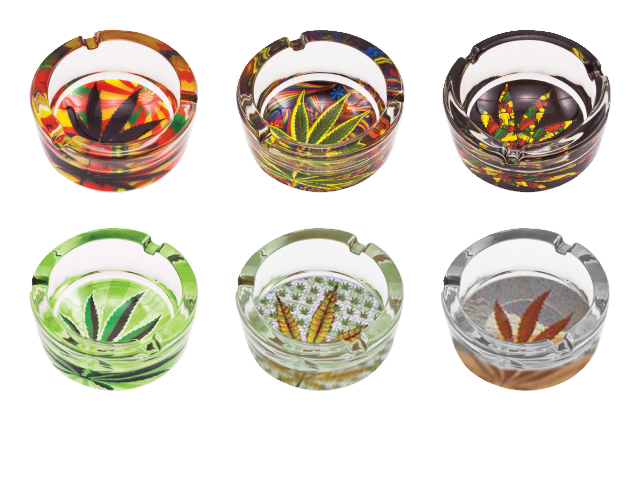 Crystal Ashtray with Cannabis Leaf Design