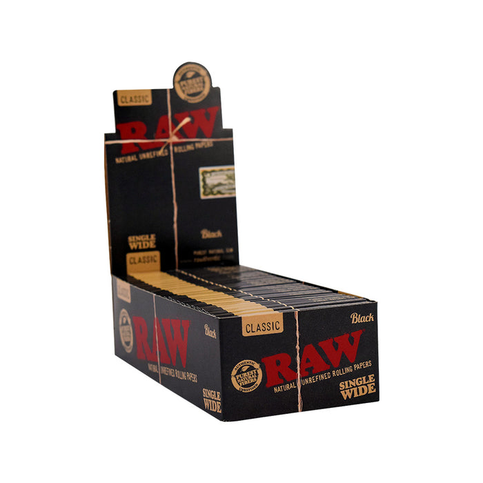 RAW Black Rolling Papers - Single Wide (100 Sheets)