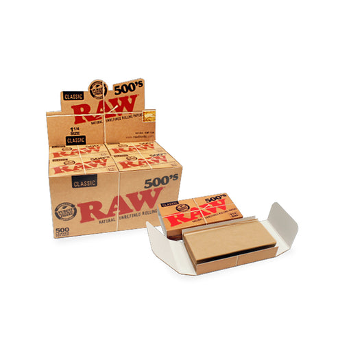 Classic RAW Rolling Papers 500 Sheet Pack 1.25 1-1/4 Canada Head Candy