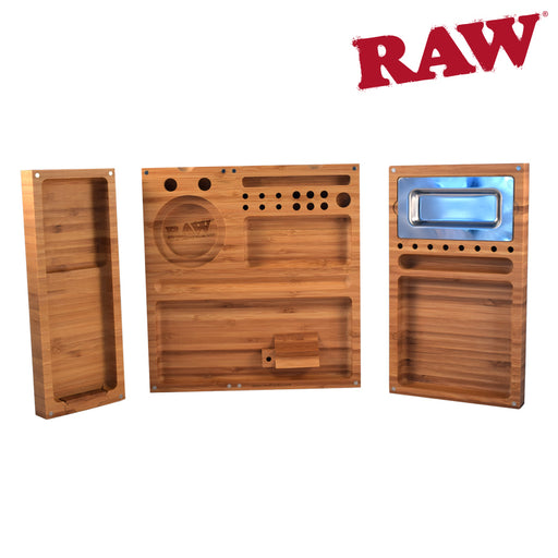 RAW 3 Section Magnetic Bamboo Rolling Tray
