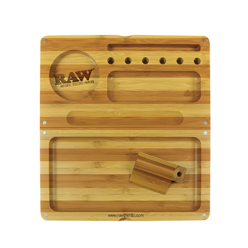RAW Striped Bamboo Back Flip Magnetic Rolling Tray Limited Edition