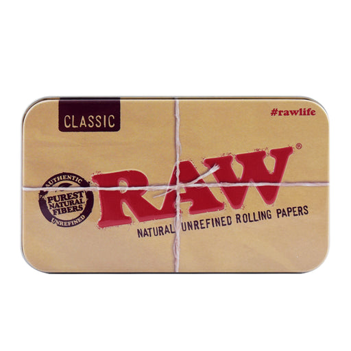 RAW pop top metal tin case
