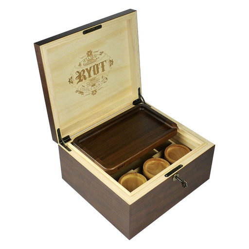 RYOT Lockable Wooden Storage Box with Jars and Rolling Tray Canada