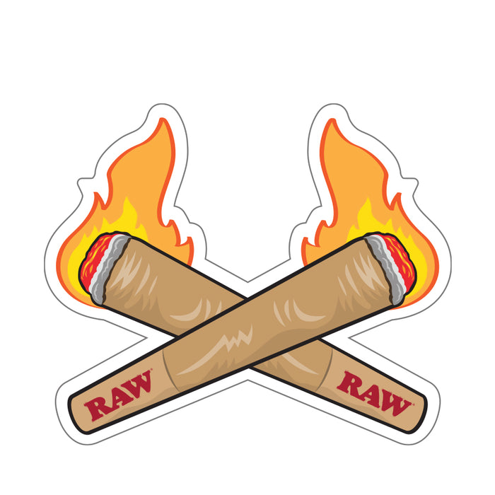 Double Flaming RAW Cones Sticker