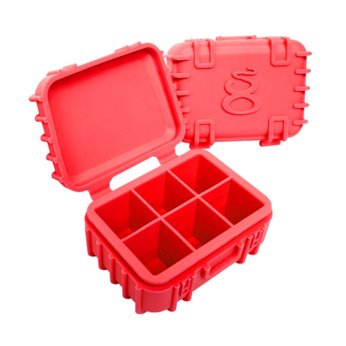 Red Silicone Storage Case with 6 Chambers