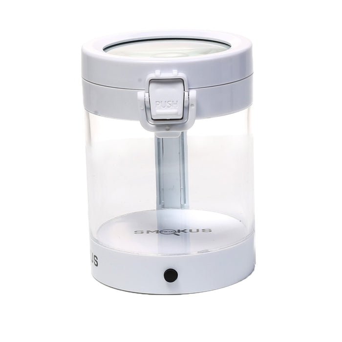Cannabis Storage Jar with Magnifying Glass Top and LED Light