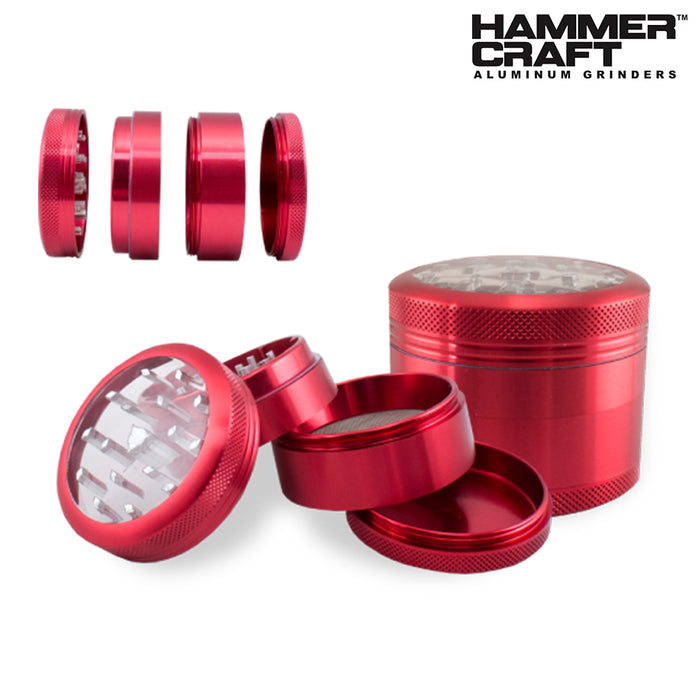 Hammercraft Clear Top Grinder & Sifter Red