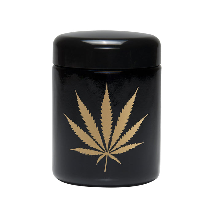 Large Screw Top Glass UV Storage Jar with Gold Leaf 420 Science
