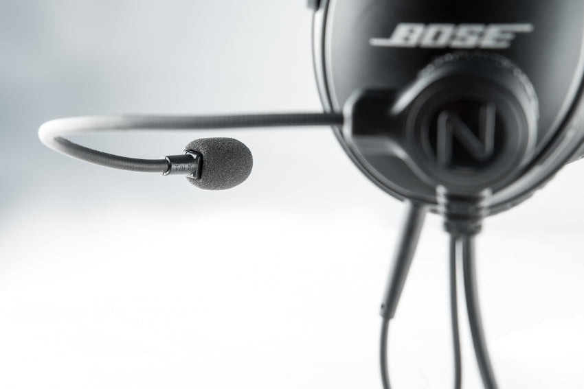 NFlightmic Nomad Aviation Microphone on Bose QC35II