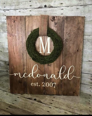 Rustic Moss Wreath Sign (Choose your Colors)