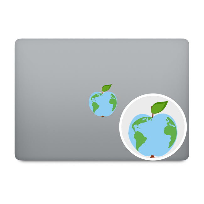 Green Earth Apple Logo MacBook Decal