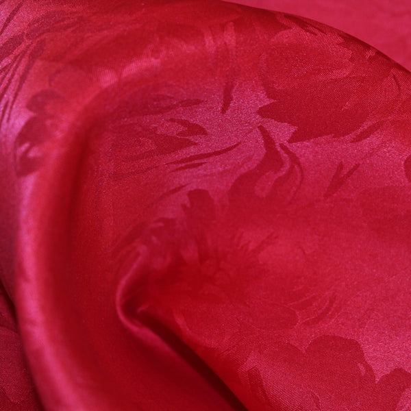 Floral Printed Silk Gazar - Red
