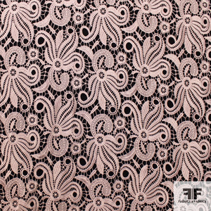 Abstract Floral Guipure Lace - Baby Pink - Fabrics & Fabrics NY