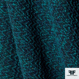 Textured Cotton Blend Tweed - Turquoise