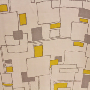 Graphic Printed Silk Twill - White/Yellow/Grey
