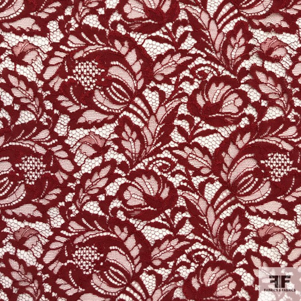 Double Scalloped Leavers Lace - Maroon - Fabrics & Fabrics NY
