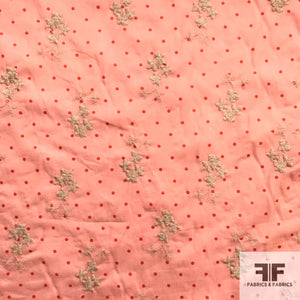 Polka Dot and Floral Embroidered Cotton - Pink/Cream/Red