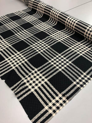 Gingham Plaid Silk Jacquard - Black And Beige