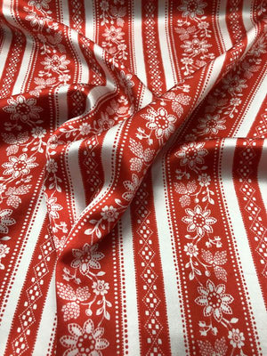Striped / Floral Silk Charmeuse - Red And Off White