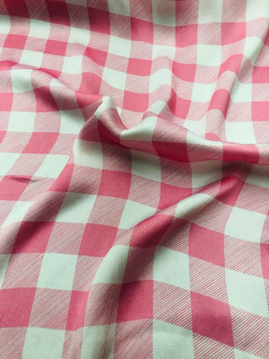 Gingham Silk Charmeuse - Pink And White