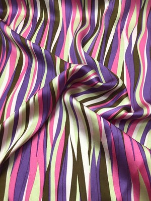 Wavy Striped Silk Charmeuse - Pink, Purple And Brown
