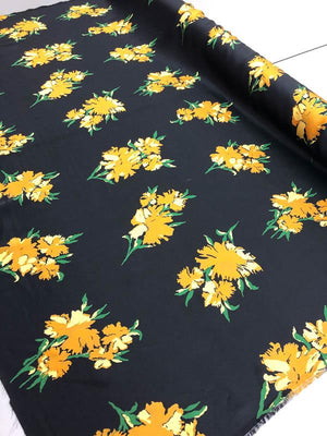 Floral Silk Charmeuse - Black, Orange, Yellow And Green