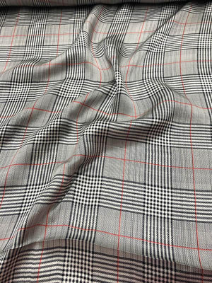 Plaid Silk Charmeuse - Black / Grey / Red