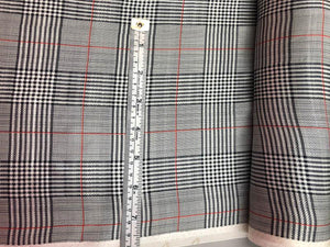 Plaid Silk Charmeuse - Black, Grey And Red