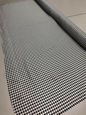 Houndstooth Silk Charmeuse - Black And White