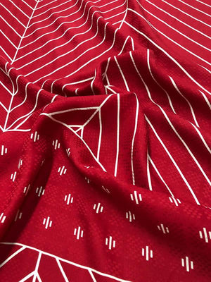 Geometric Silk Jacquard - Red And White