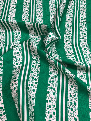 Striped And Polka Dots Silk Jacquard - Green And White