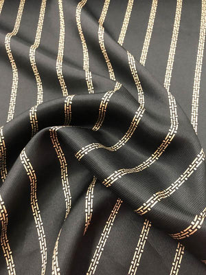 Striped Cord Silk Charmeuse - Black And Beige