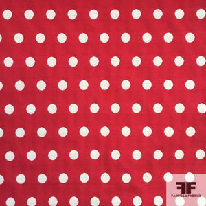 Cotton Polka-Dot Brocade- Red/Off White
