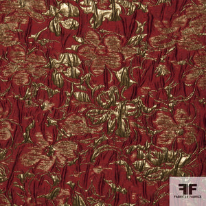 Floral Metallic Brocade fabric in Red/Gold
