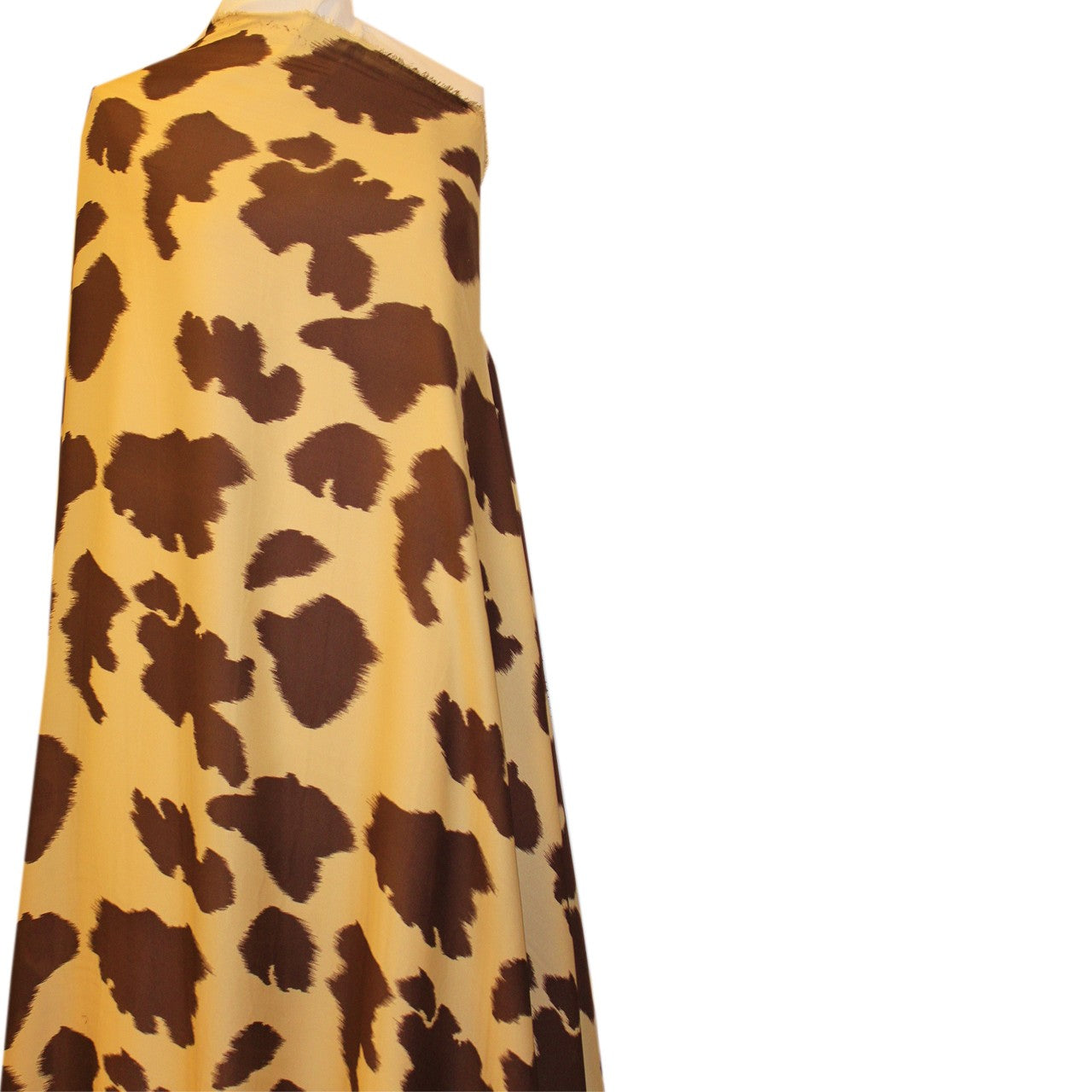 Cow Spotted Silk Printed Georgette - Brown/Tan - Fabrics & Fabrics NY