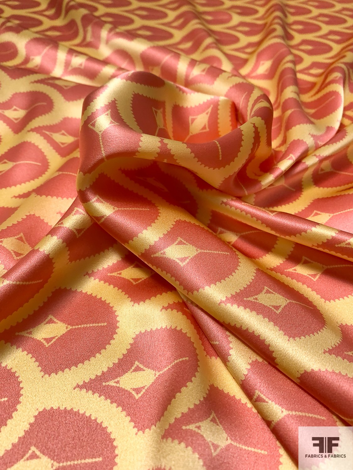 Art Deco Scales Printed Silk Charmeuse - Coral / Yellow