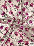 Floral Printed Silk Charmeuse - Magenta / Evergreen / Off-White
