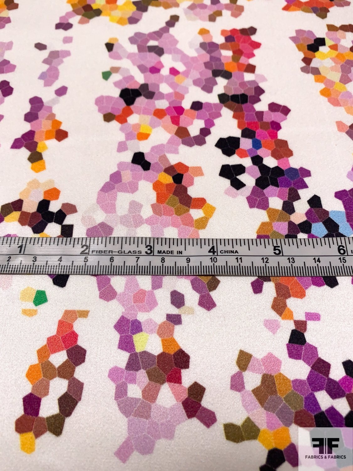 Pixel Dotted Printed Silk Charmeuse - Multicolor